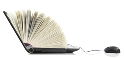Online learn library. Laptop as a Book connected to a computer mouse.