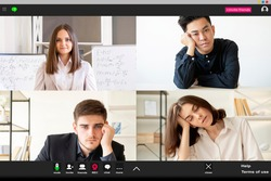 Online learning. Video meeting. Distance education. Group teleconference. Tired bored diverse multiethnic students fell asleep listening to female teacher at virtual class on screen.