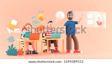 Online Learning with characters sitting at desk and studying with virtual desktop.-3d rendering.