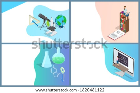Online library and education research and learning. Free access to knowledge and books, chemistry publication and experiments, biology supplies. Website or webpage template, landing page in flat style