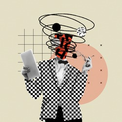 Online lifestyle. Comics styled bright plaid suit. Modern design, contemporary art collage. Inspiration, idea concept, trendy urban magazine style. Negative space to insert your text or ad.