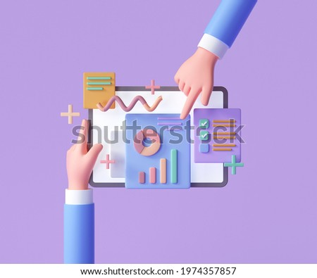 Online marketing, financial report chart, data analysis, and web development concept. Hand holding tablet with data chart. 3d render illustration