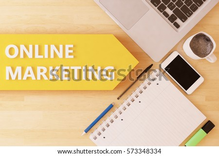 Online Marketing - linear text arrow concept with notebook, smartphone, pens and coffee mug on desktop - 3d render illustration.