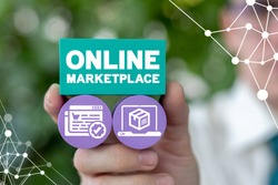 Online Marketplace Business Concept. Internet Home Shopping Market Place Processing Ordering Technology.