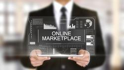 Online Marketplace, Hologram Futuristic Interface, Augmented Virtual Reality