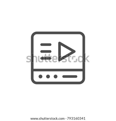 Online media player line icon isolated on white