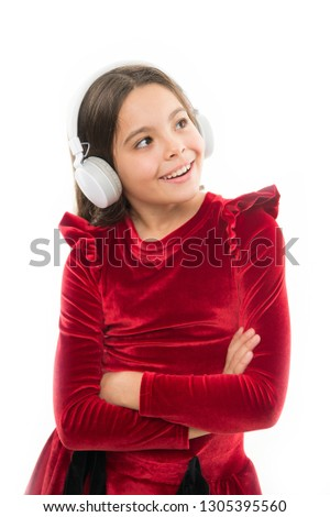 Online music channel. Girl little child use music modern headphones. Music always with me. Listen for free new and upcoming popular songs right now. Little girl listen music wireless headphones. #1305395560