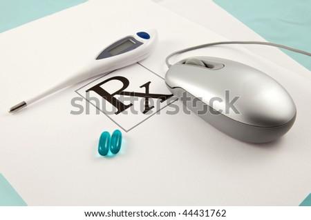Online Ordering Of Prescription Pills Concept