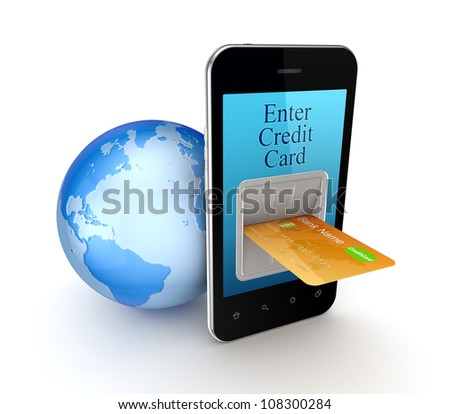 Online payment concept.Isolated on white background.3d rendered.