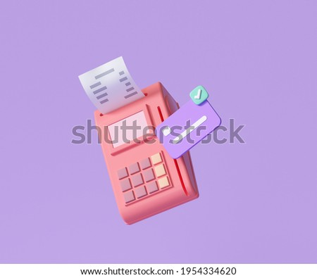 Online payment terminal concept. pos terminal icon, contectless payment transaction. 3d render illustration