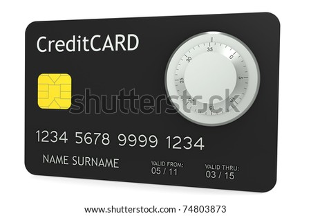 Online Payments. A credit card with Combination Lock