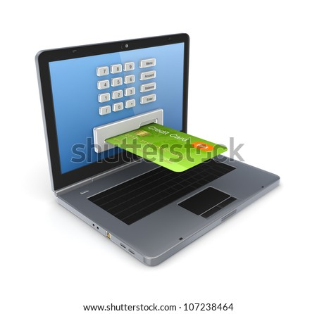 Online payments concept.Isolated on white background.3d rendered.