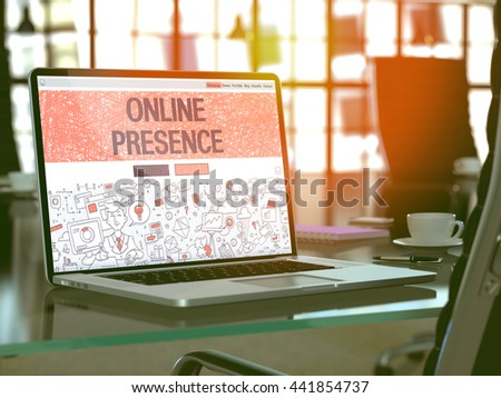 Online Presence Concept. Closeup Landing Page on Laptop Screen in Doodle Design Style. On Background of Comfortable Working Place in Modern Office. Blurred, Toned Image. 3D Render.