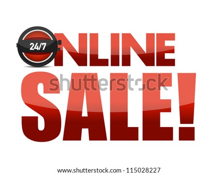Online sale text illustration design over white background