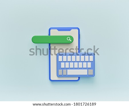 online search bar with smartphone and keyboard. minimal design for advertising. 3d rendering