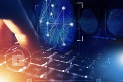 Online Security Check and Privacy Concept. Fingerprint and Computer Police Database Scan. Person Screening.