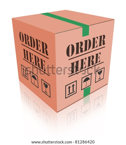 online shop cardboard box internet shopping store to order online on the web shop internet shop - stock photo