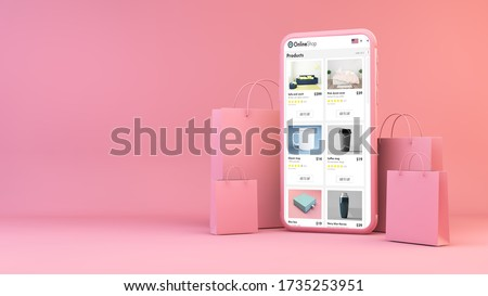 Online shop on mobile with shopping bags 3d rendering stock photo
