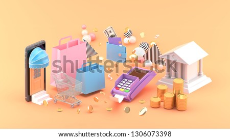 Online shop , Shopping bags, wallet, banks and coins amidst colorful balls on an orange background.-3d rendering.