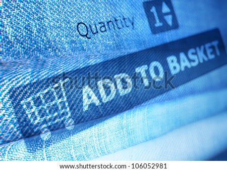 Online Shopping - Add To Basket Button On Background of Jeans