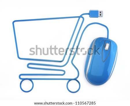 Online shopping, blue mouse in the shape of a shopping cart on a white background.