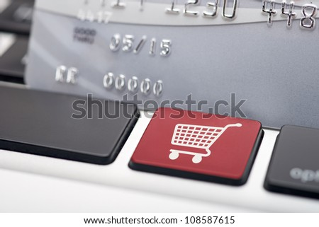 Online Shopping button on computer keyboard