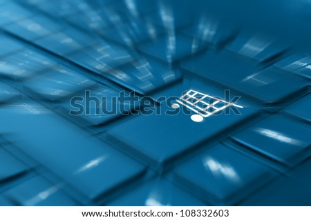 Online Shopping Concept - Detail of Key With Cart Symbol on Keyboard