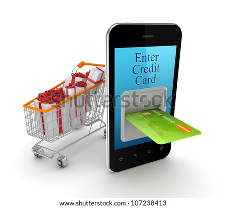 Online shopping concept.Isolated on white background.3d rendered.
