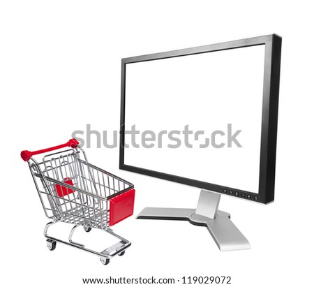 Online shopping concept. Isolated on white with clipping path.