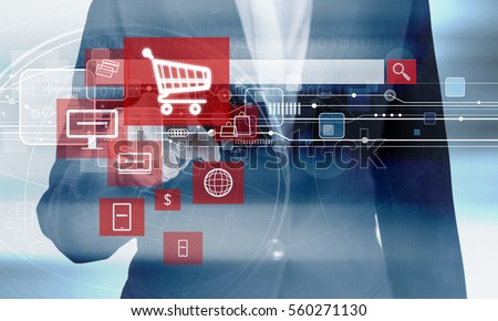 Online shopping concept of business woman hand touching shopping cart icon
