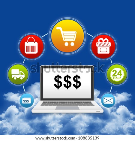 Online Shopping Concept Present by Computer Notebook With Some Dollar Sign on Screen and Icon Above Isolate on White Background - stock photo