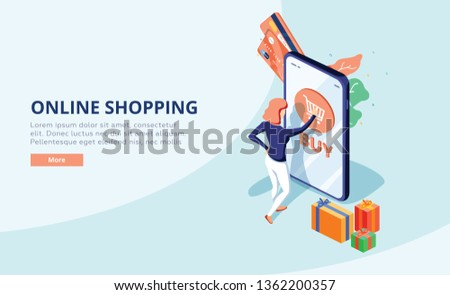Online shopping concept with character. Sale and consumerism. Young woman shop online using smartphone. Can use for web banner, infographics, hero images. Flat isometric illustration.