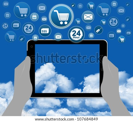 Online Shopping Concept With Group of Online Shopping Icon Over The Tablet PC on Hand With Some Space in The Tablet PC For Writing Your Own Text Message