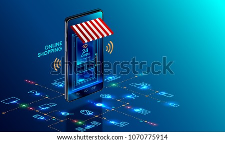 Online shopping. 3D Smartphone turned into internet shop. Concept of mobile marketing and e-commerce. Isometric supermarket smartphone with icons of purchases. Awning above online store front door. Photo stock ©