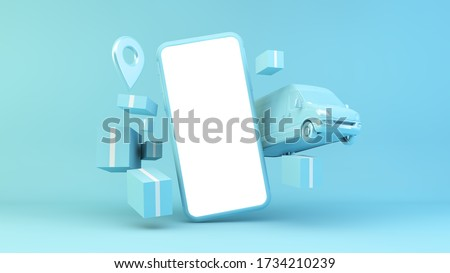 Online shopping delivery concept 3d rendering stock photo
