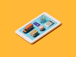 Online shopping, e-commerce and delivery service app: isometric objects on a smartphone
