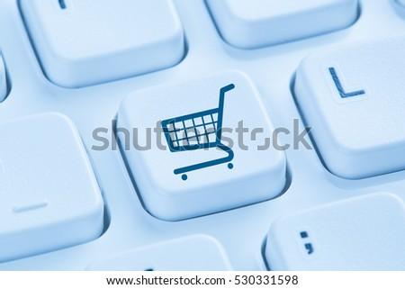 Online shopping e-commerce ecommerce internet shop concept symbol blue computer keyboard