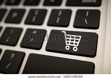 online shopping icon in keyboard