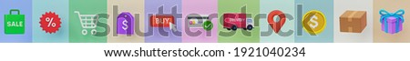 Online shopping icons set. bag, discount, cart, price tag, buy button, credit card, Delivery truck, location pin, coin, package, gift. symbols collection Long banner. 3d rendering