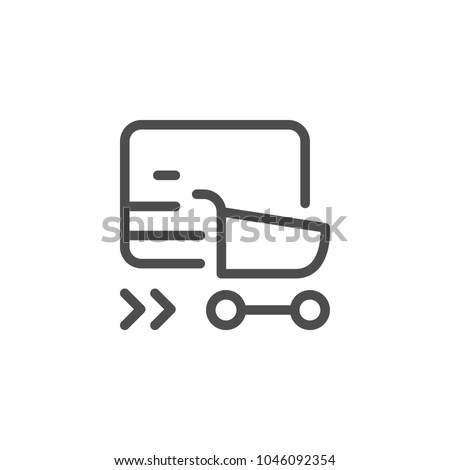 Online shopping line icon isolated on white