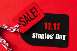 Online shopping of China, 11.11 single day sale concept. Red and black ticket 11.11 single day sale tag. Shopping concept.