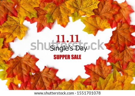 Online shopping of China, 11.11 single's day sale concept.text 11.11 single's day sale with maple leaf on white background.