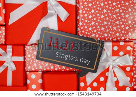 Online shopping of China, 11.11 single's day sale concept. The red gift boxes background with copy space for text 11.11 single's day sale.