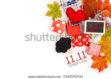Online shopping of China, 11.11 single's day sale concept. The red gift boxes on white background with copy space for text 11.11 single's day sale.