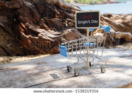 Online shopping of China, 11.11 single's day sale concept. The shopping cart and the text 11.11 single's day sale.