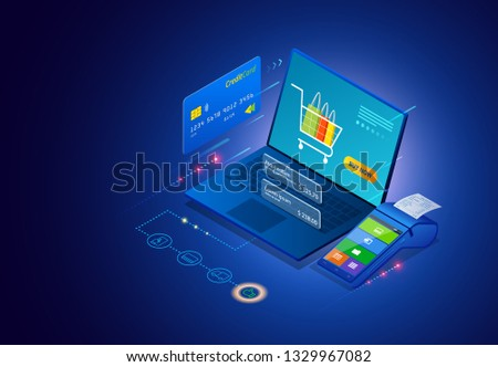 Online shopping, Sale, Consumerism and store. Isometric Smart smartphone online shopping template. Mobile marketing and e-commerce.  illustration.