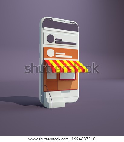 Online shopping. Smartphone turned into internet shop. Concept of mobile marketing and e-commerce. Isometric supermarket smartphone. 3d rendering