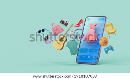 Online shopping website mobile application digital marketing store on screen smartphone showcase icon display. 3d rendering.