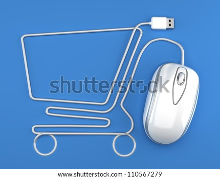 Online shopping, White mouse in the shape of a shopping cart on a blue background.