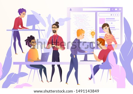 Online Startup Development Cartoon Concept with Young Web Developers, Programmers or Coders Team Working Together at Office, Discussing Ideas, Correcting and Optimizing Code, Developing Website